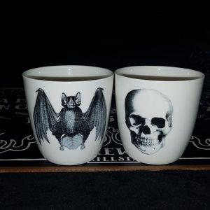 2 pc porcelain cups bat skull goth